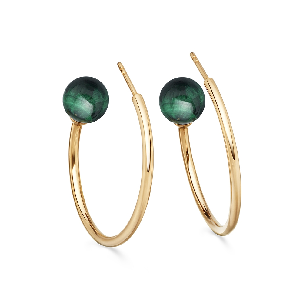 Malachite Ezra Hoop Earrings