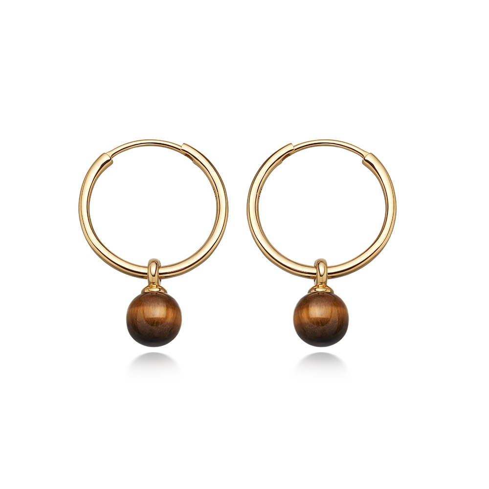 Tigers Eye Vera Drop Hoop Earrings