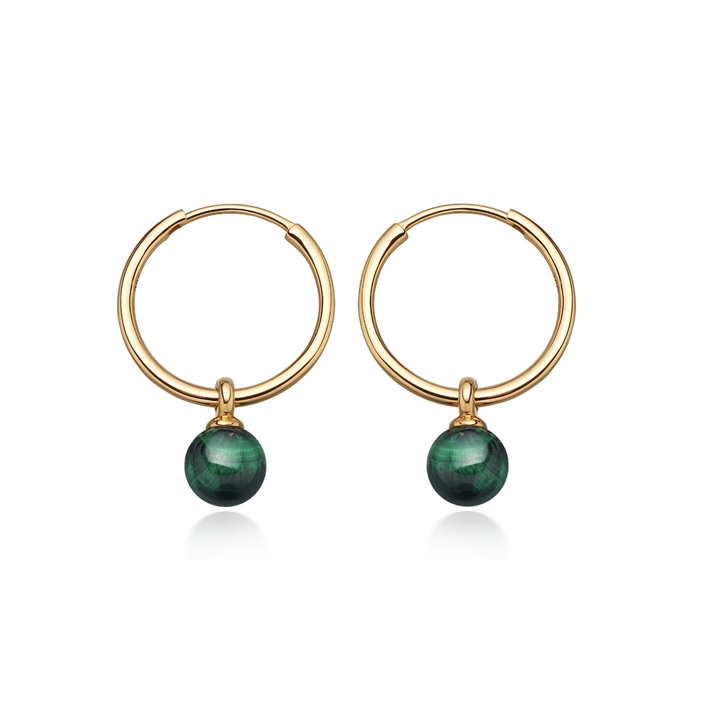 Malachite Vera Drop Hoop Earrings