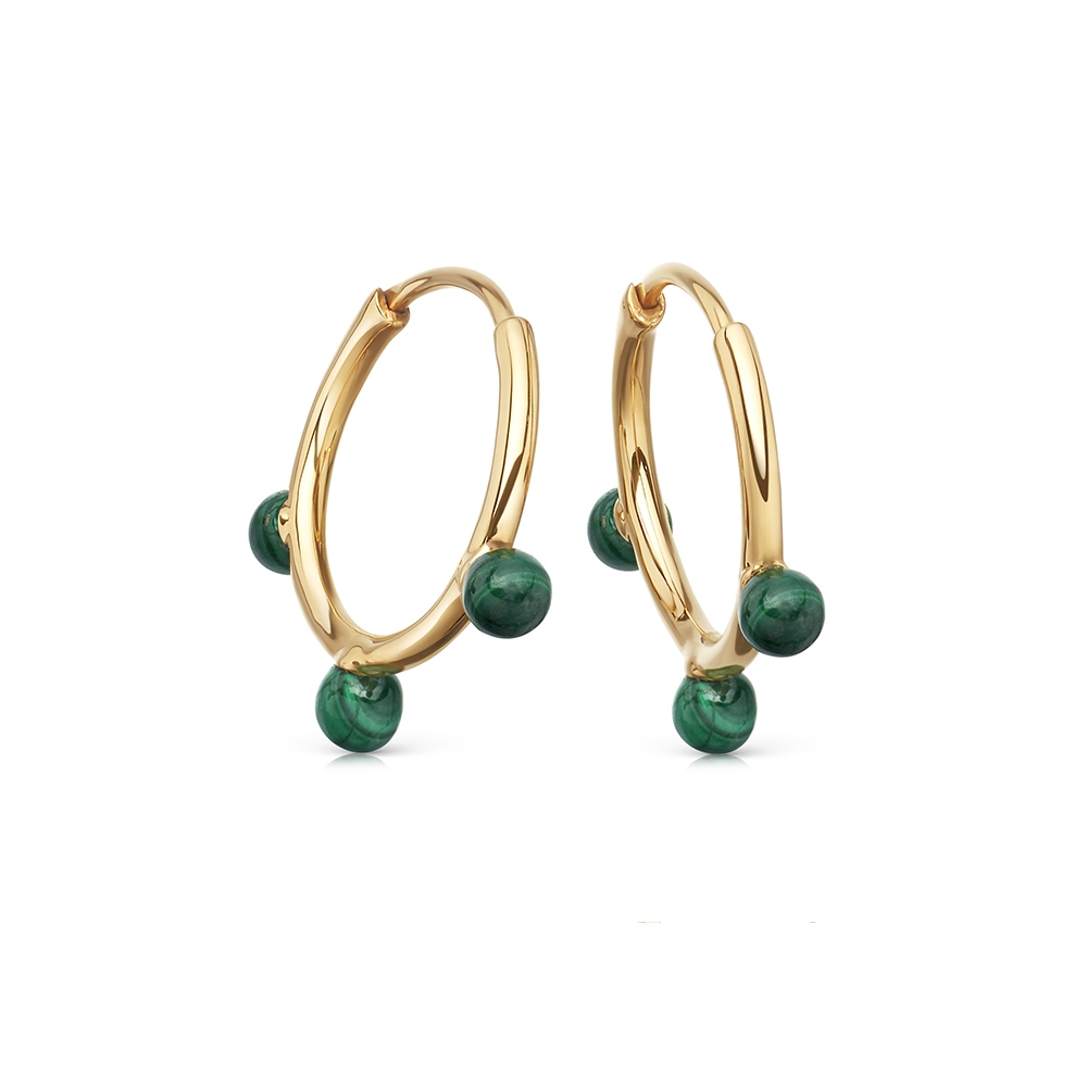 Malachite Hazel Hoop Earrings