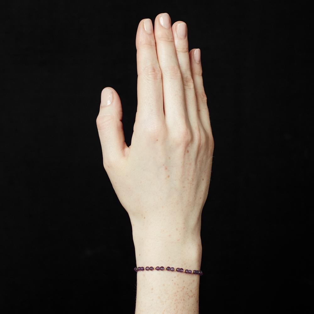 Amethyst Beaded Skinny Bracelet
