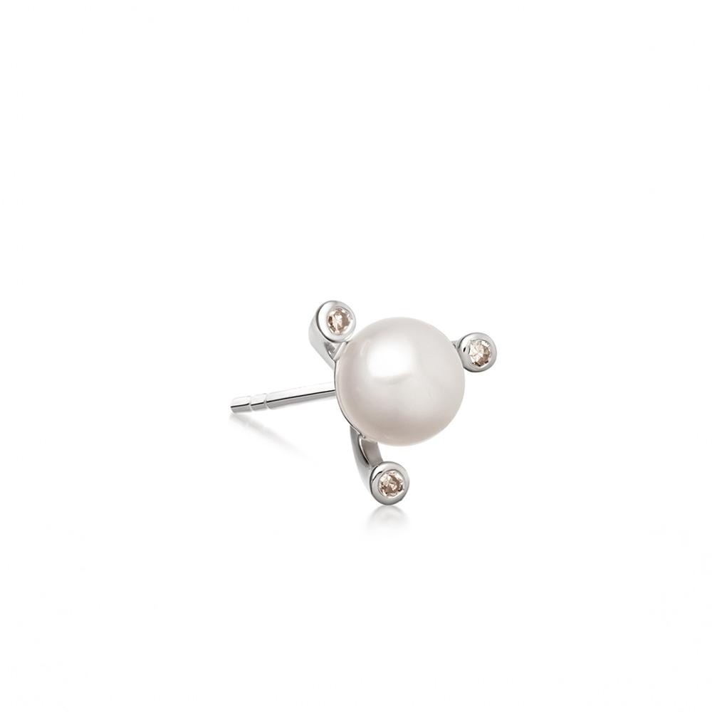 White Pearl Pluto Single Stud Earring