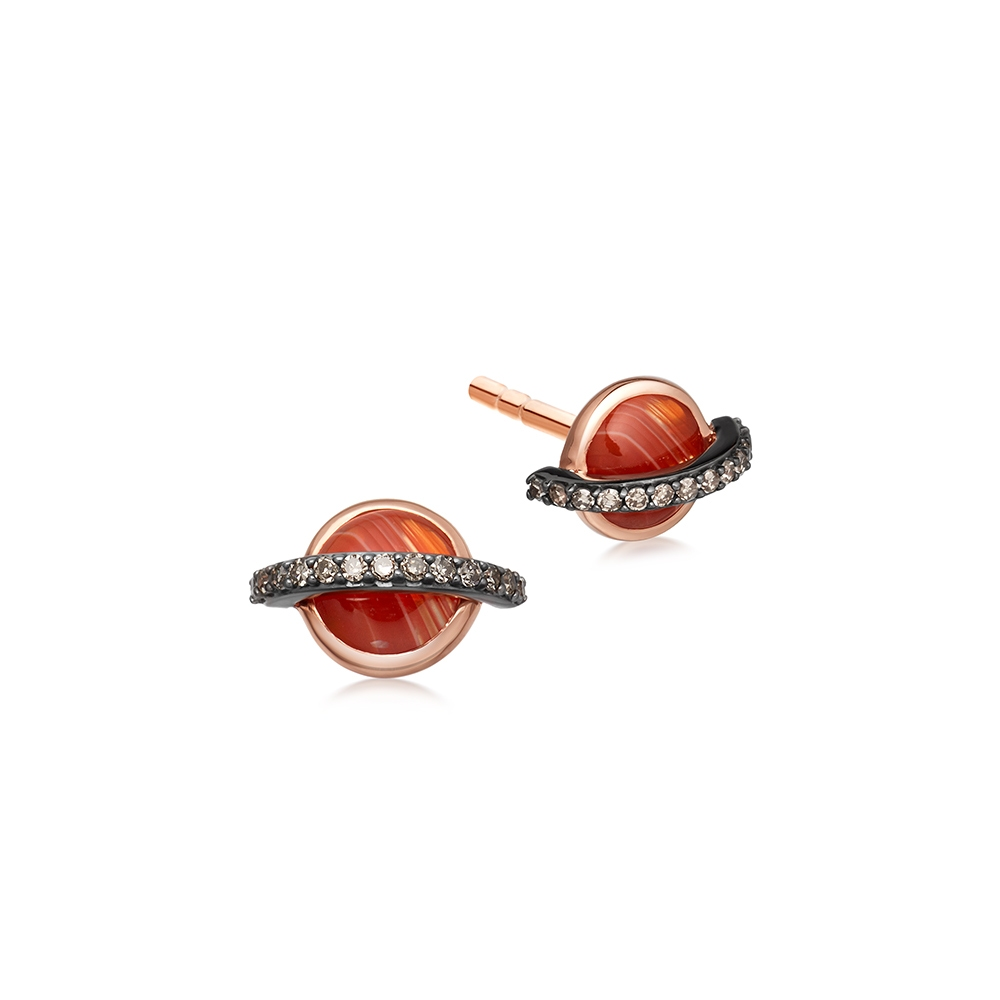 Agate Saturn Stud Earrings
