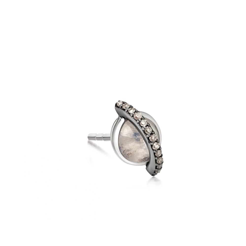 Rainbow Moonstone Saturn Single Stud Earring