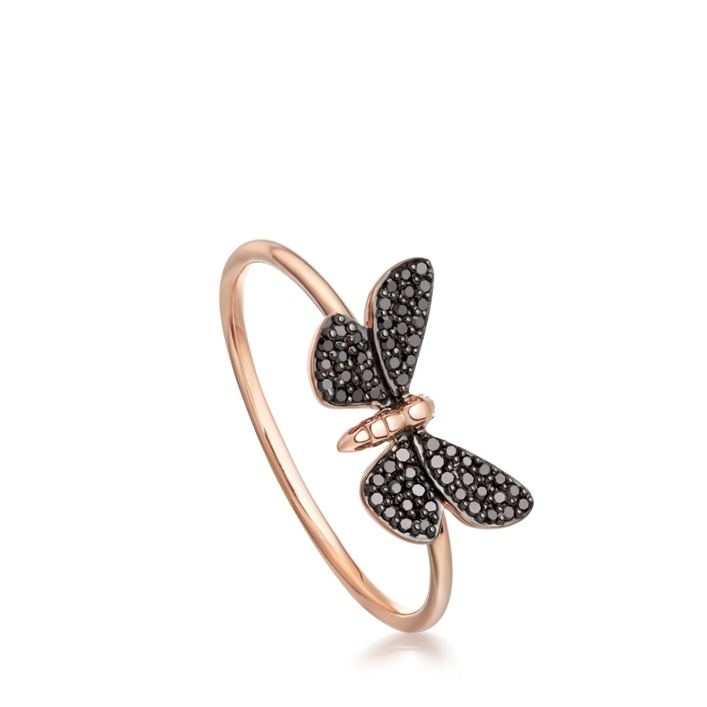 Cinnabar Papillon Black Diamond Ring