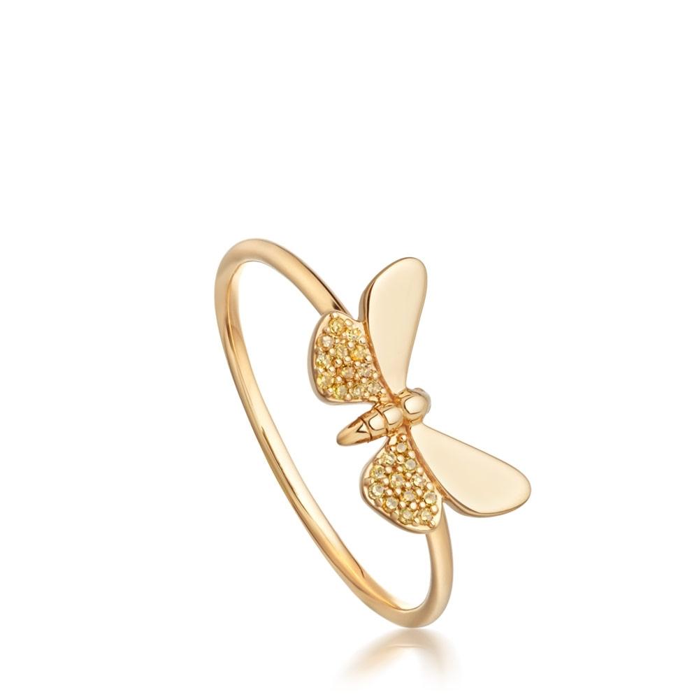 Medie Cinnabar Papillon Yellow Diamond Ring
