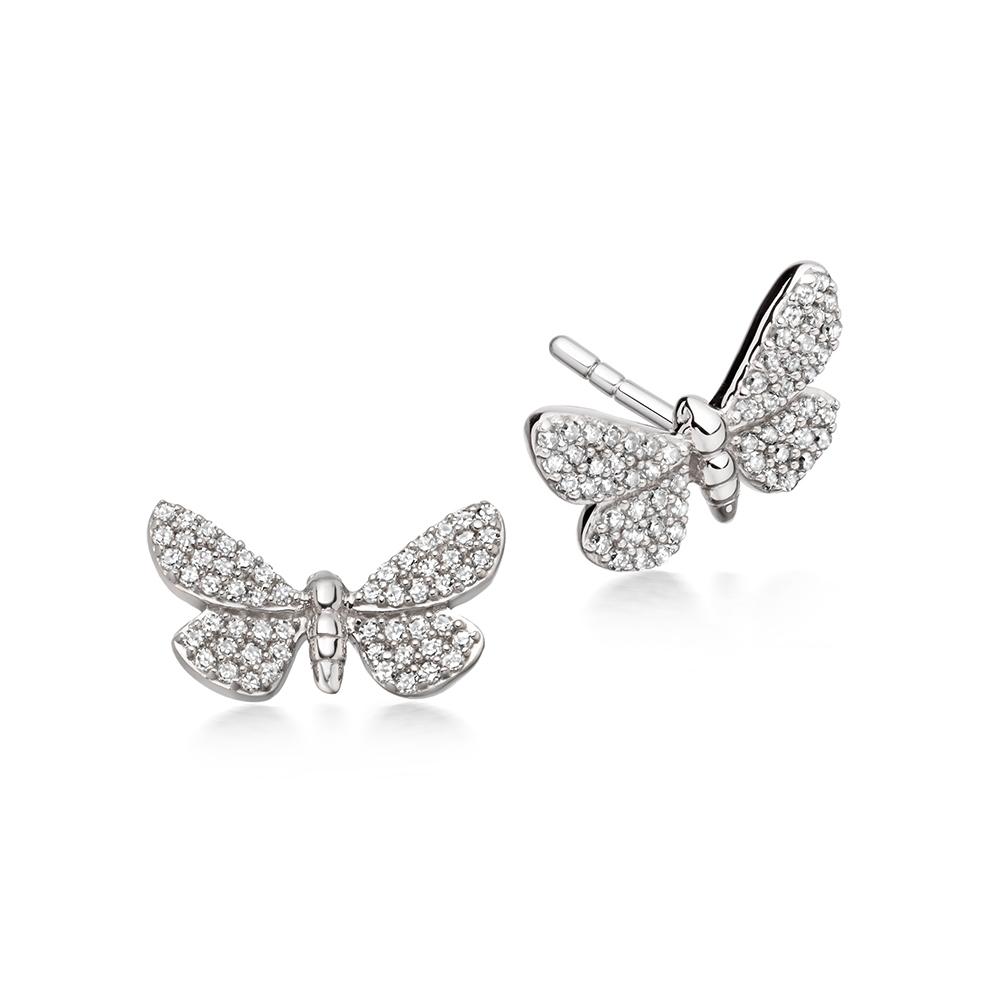Cinnabar Papillon Diamond Earrings