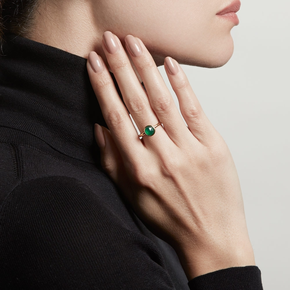 Mini Round Green Onyx Stilla Ring