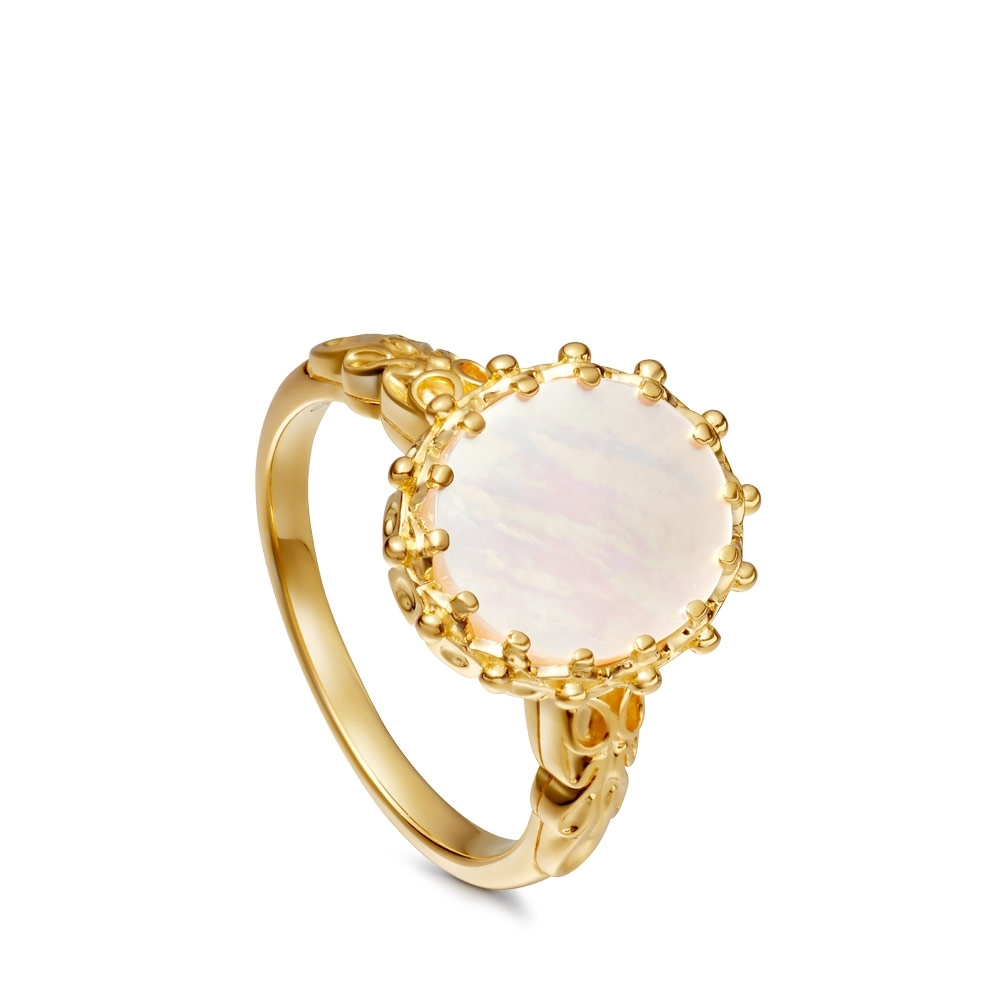 Large Mother Of Pearl Floris Ring