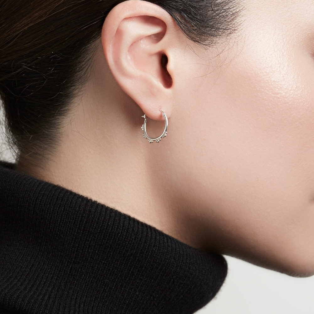 Floris Silver Hoop Earrings