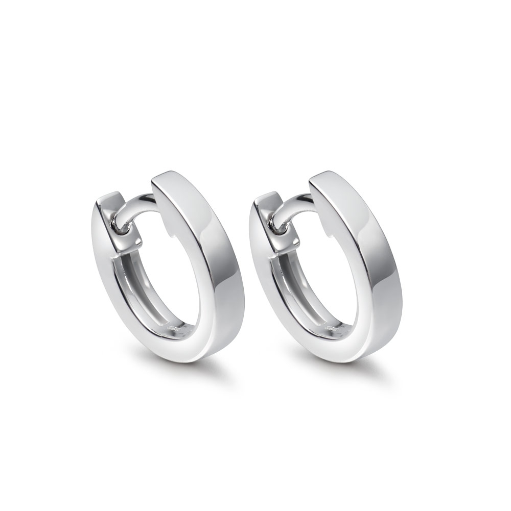 Mini Halo White Gold Hoop Earrings