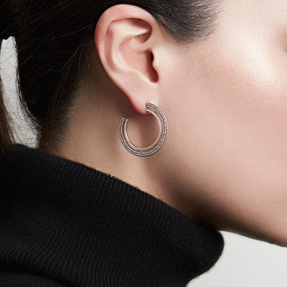 Large Icon Diamond Hoop Earrings