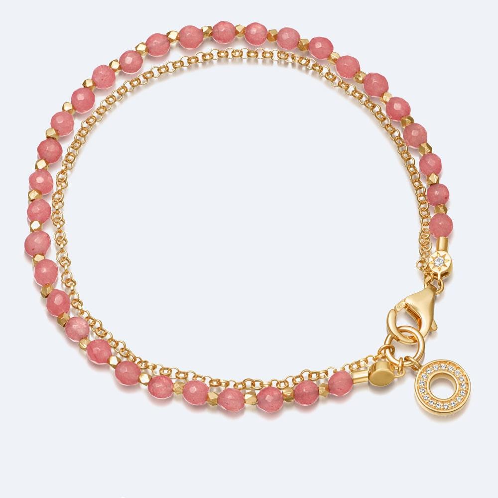 Rose Quartzite Mini Halo Biography Bracelet
