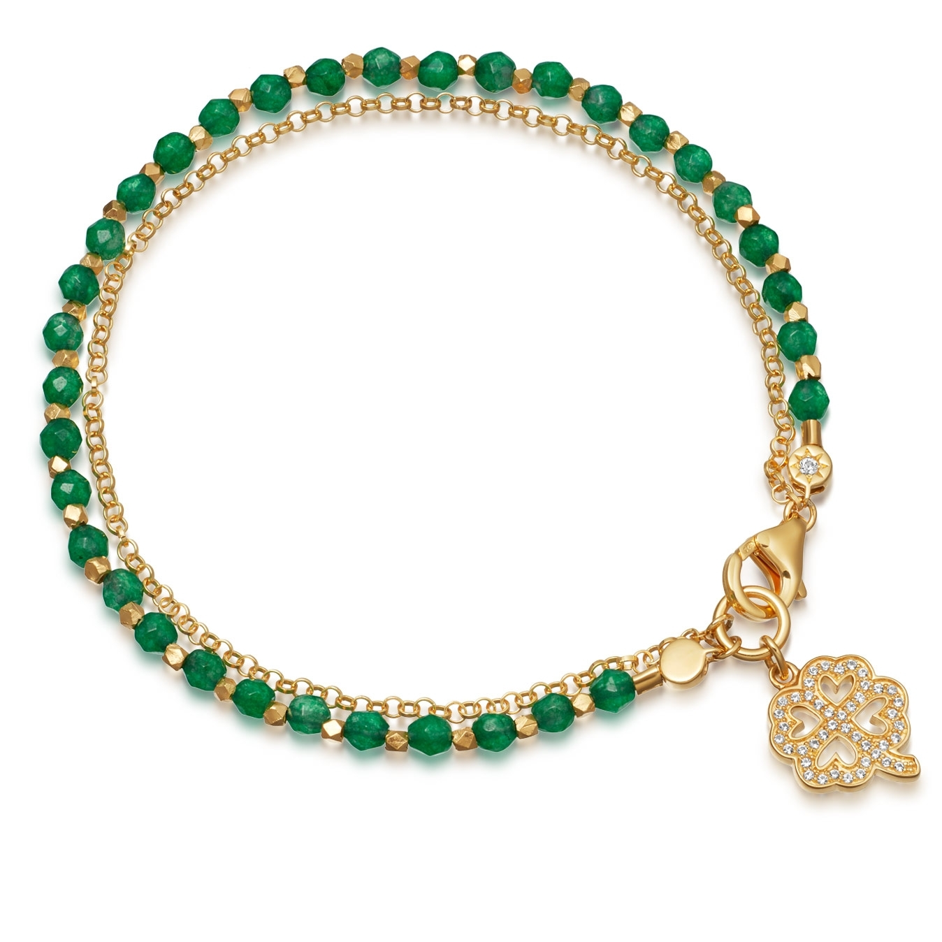 Green Onyx Four Leaf Clover Biography Bracelet