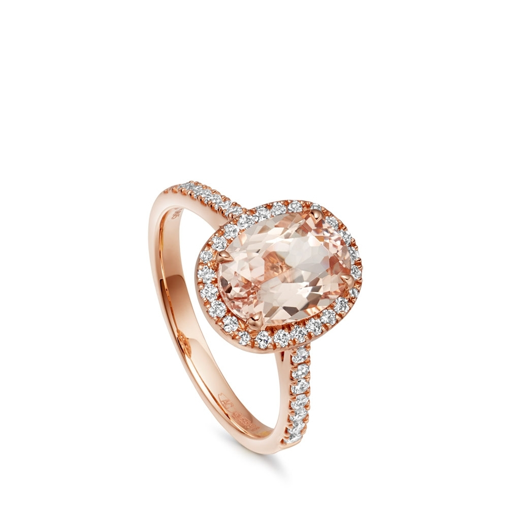 Morganite Tearoom Ring Oval Cut Stone