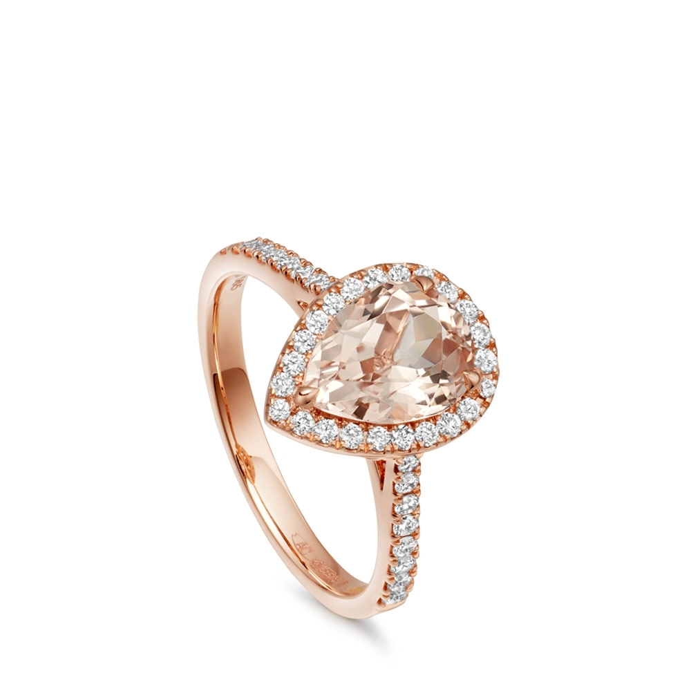 Morganite Tearoom Ring Pear Cut Stone