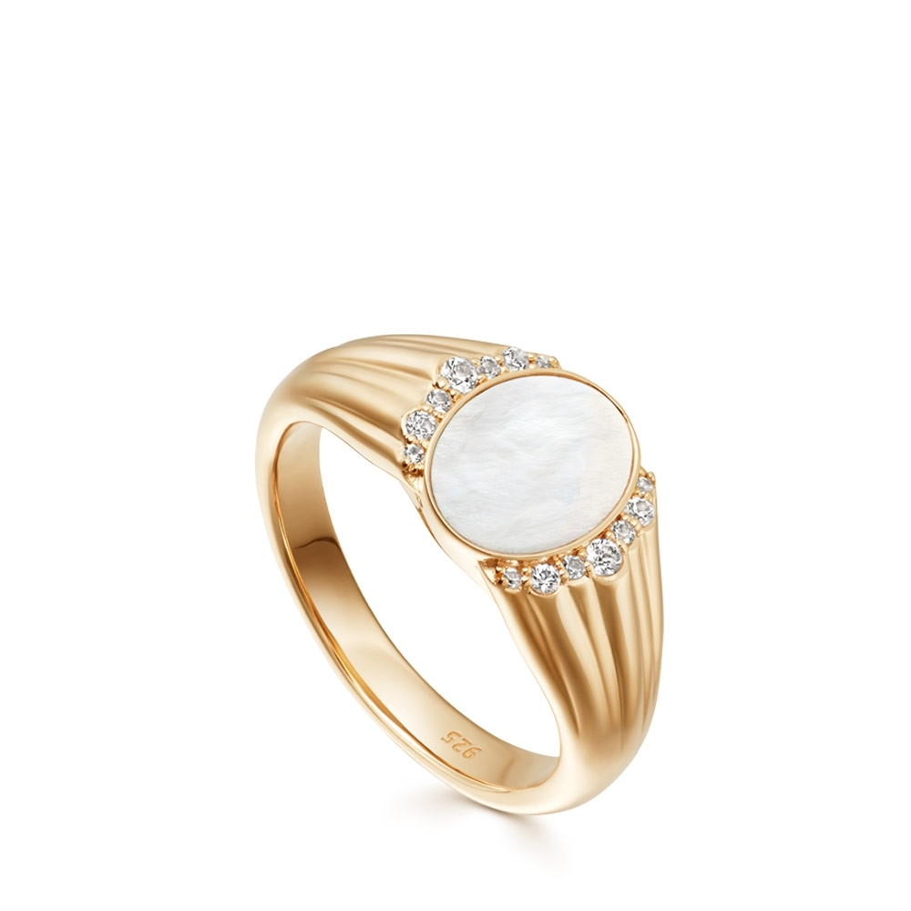 Luna Mother of Pearl Signet Ring