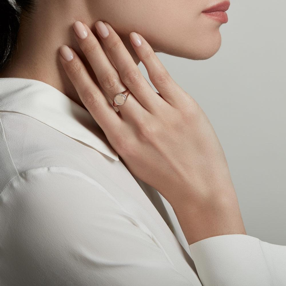 White Sapphire Biography Signet Ring