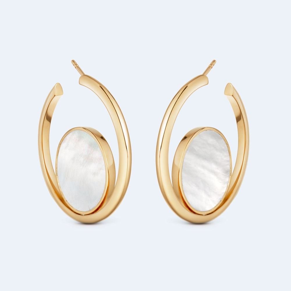 Stilla Slice Mother of Pearl Hoop Earrings