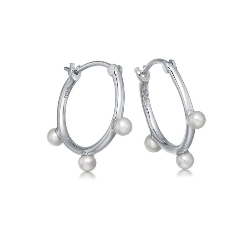 Hazel Pearl Hoop Earrings