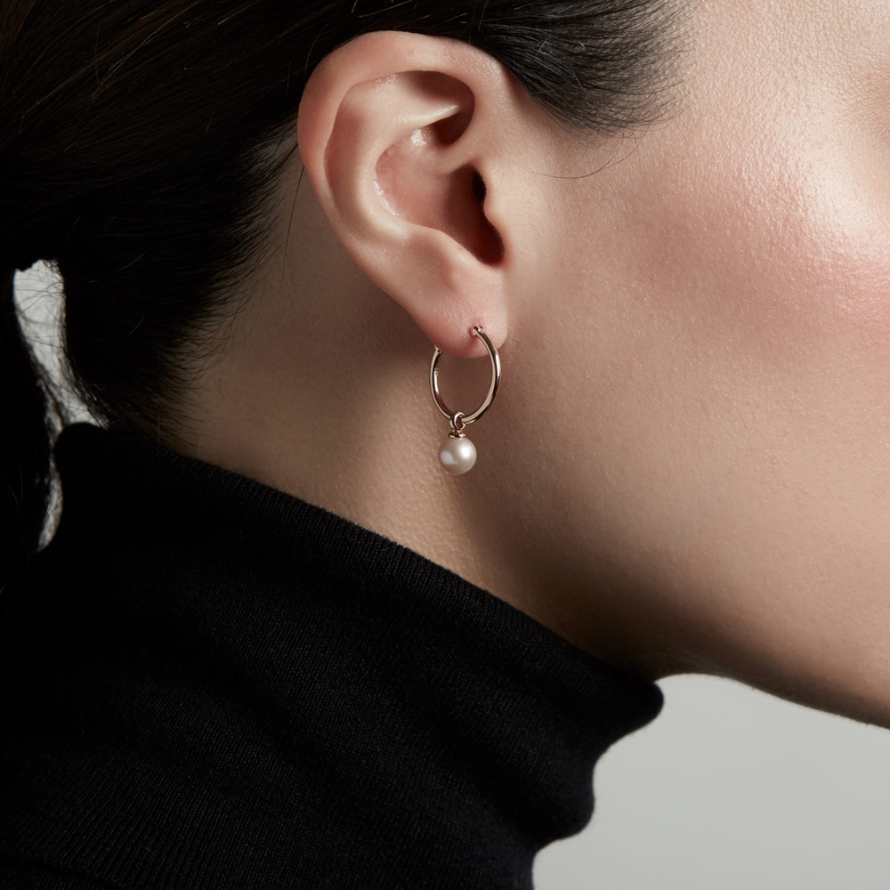 Vera Pearl Drop Hoop Earrings
