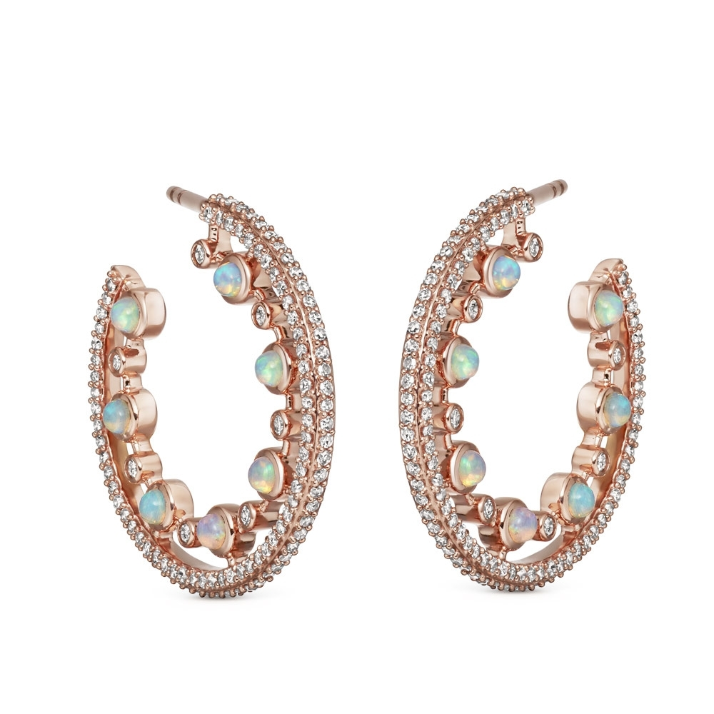 Large Icon Nova Opal Hoop Earrings