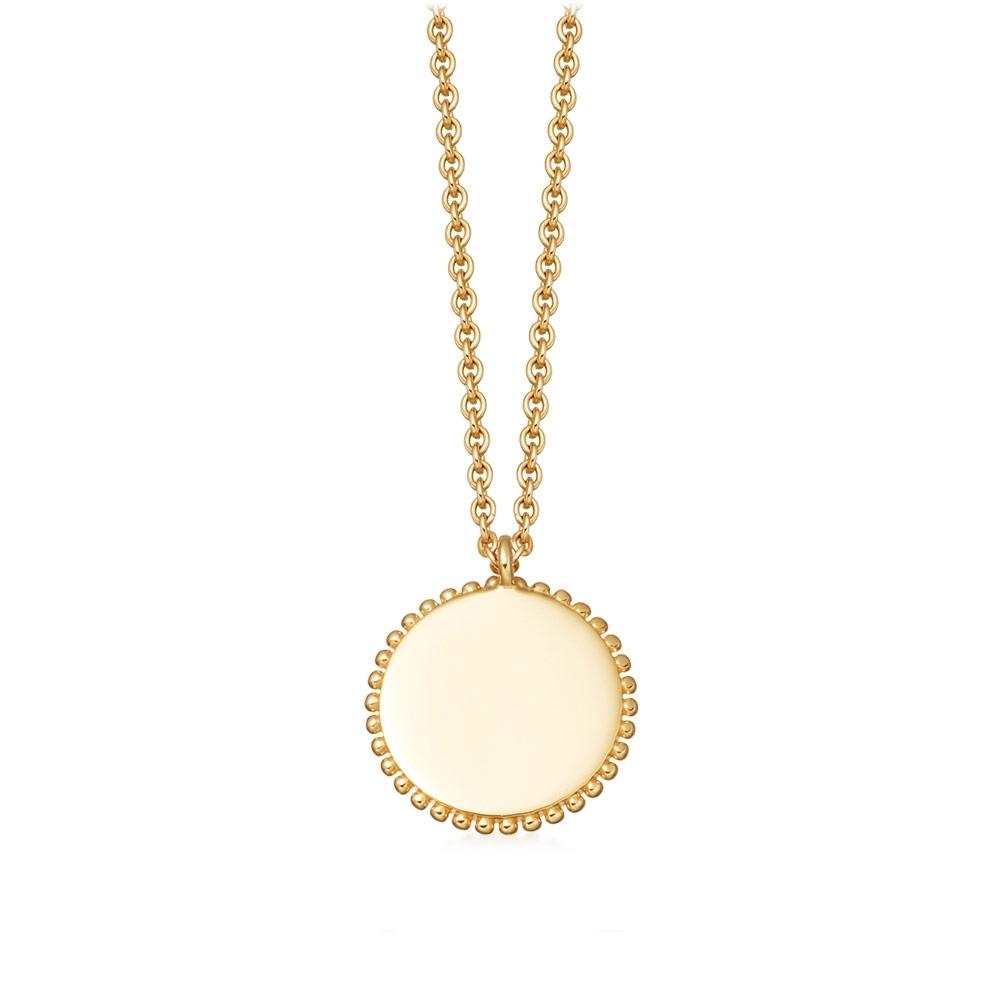 Beaded Engravable Disc Pendant Necklace