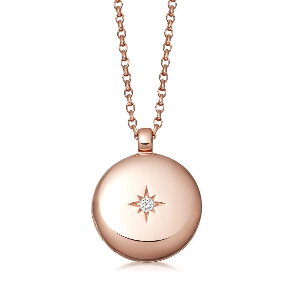 Astley Medium Rose Gold Locket Necklace
