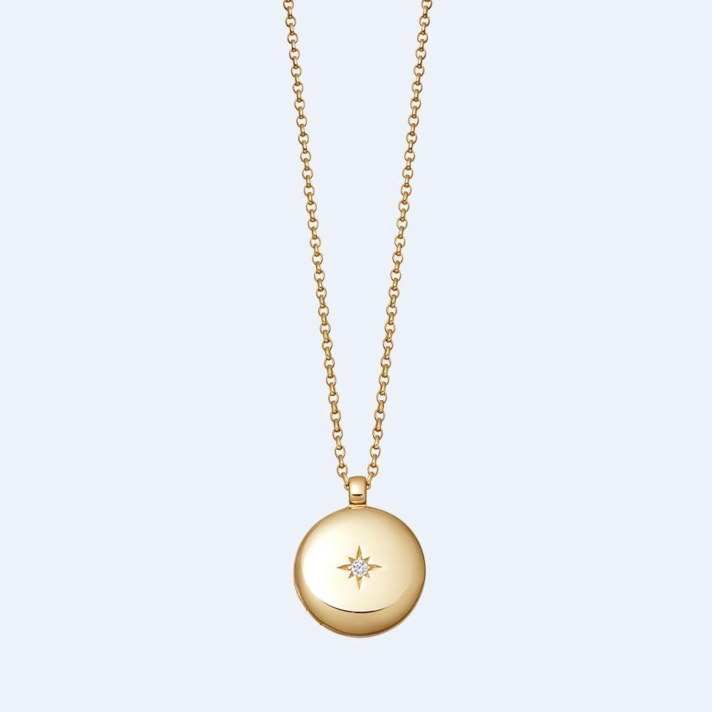 White Sapphire Medium Astley Locket Necklace