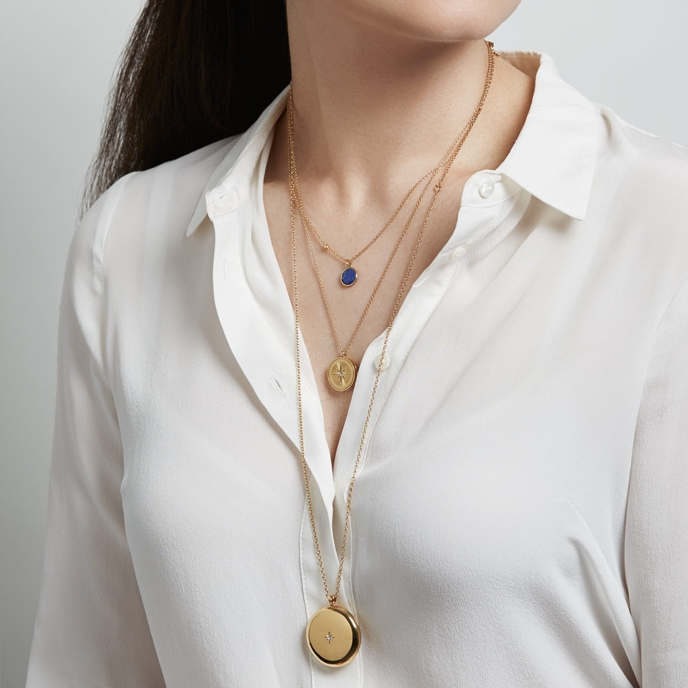Astley Large Gold Locket Necklace