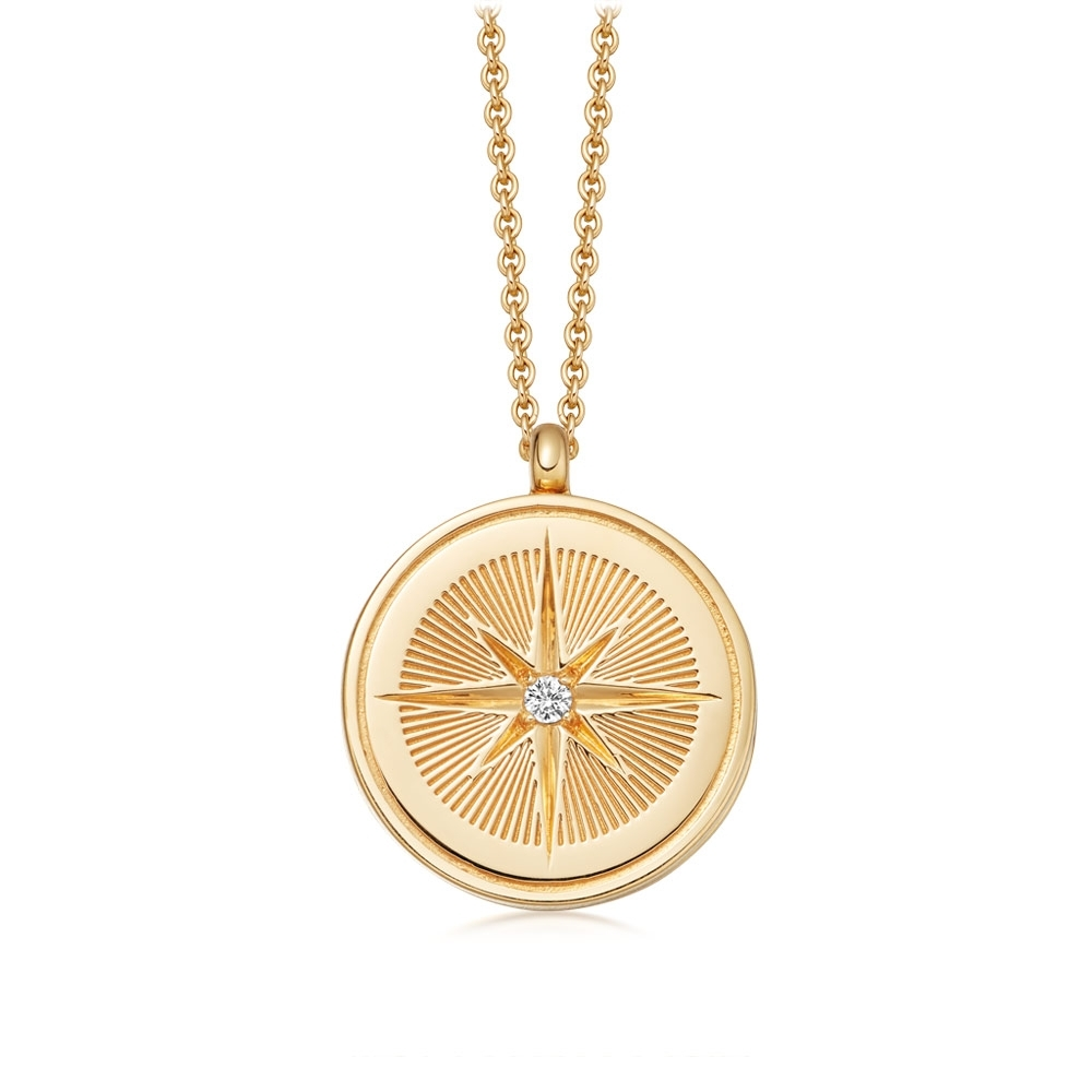 Celestial Compass Gold Locket Necklace
