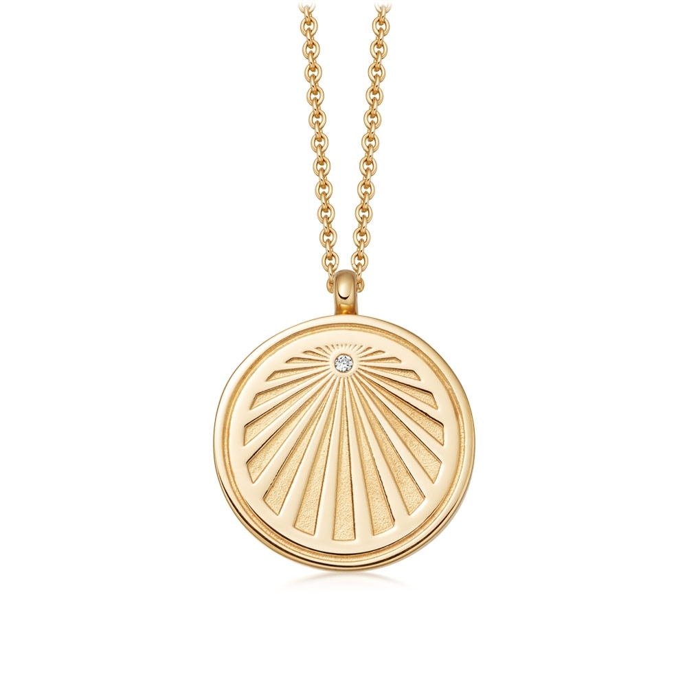 Celestial Sunrise Gold Locket Necklace