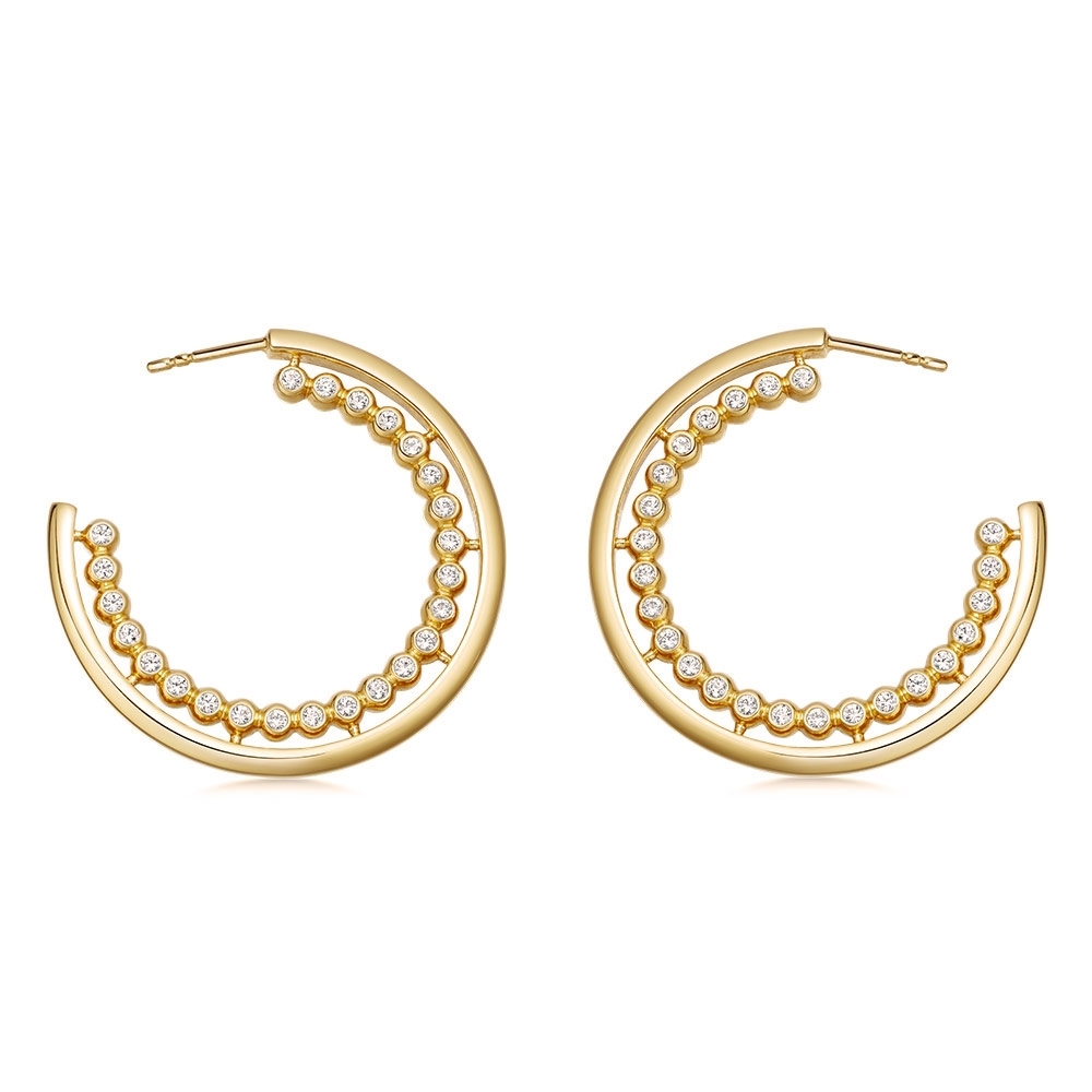 Stilla Arc Sapphire Hoop Earrings