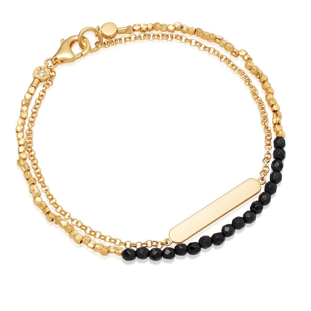 Black Onyx Engravable Biography Bracelet