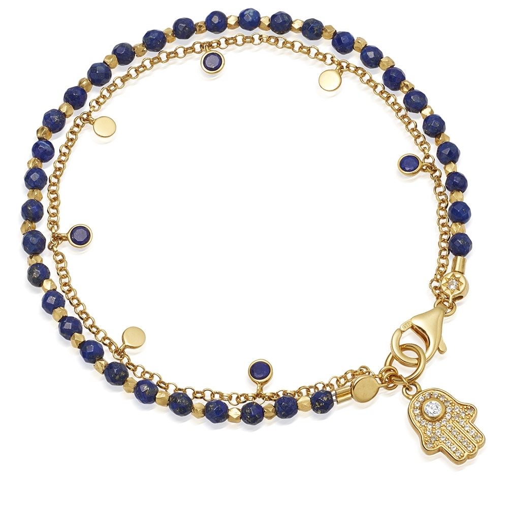 Lapis Hamsa Droplet Biography Bracelet