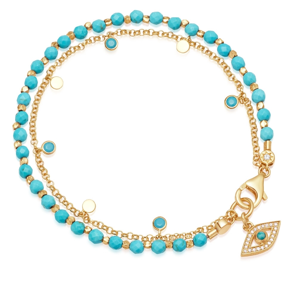 Turquoise Evil Eye Droplet Biography Bracelet