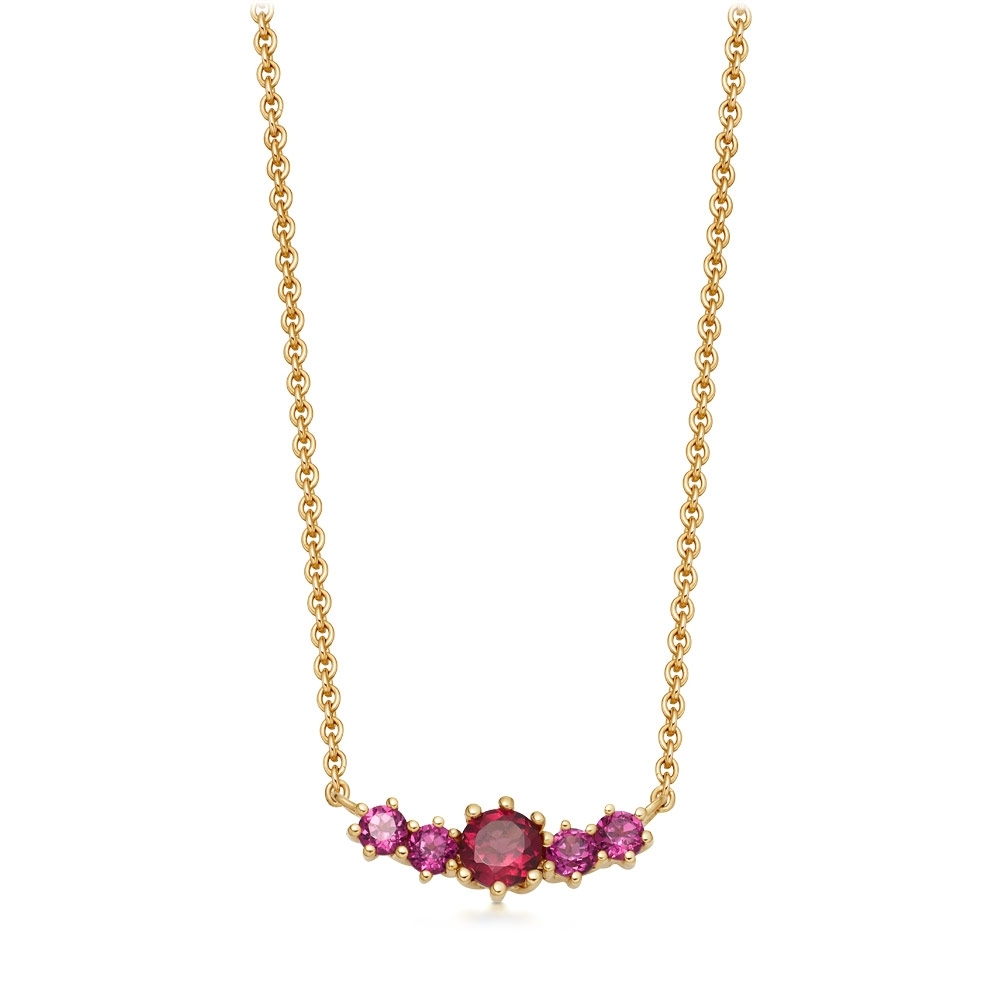 Mini Linia Rhodolite Pendant Necklace