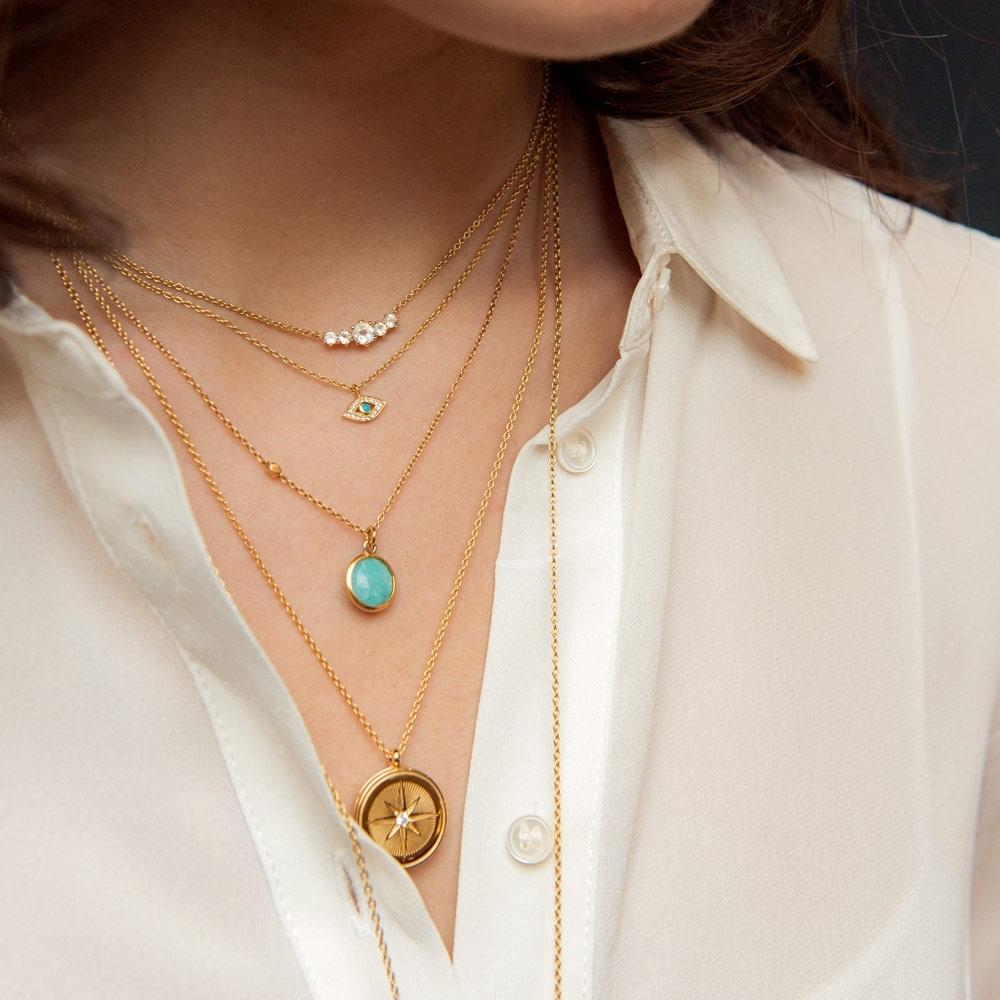 Mini Linia Rainbow Moonstone Pendant Necklace
