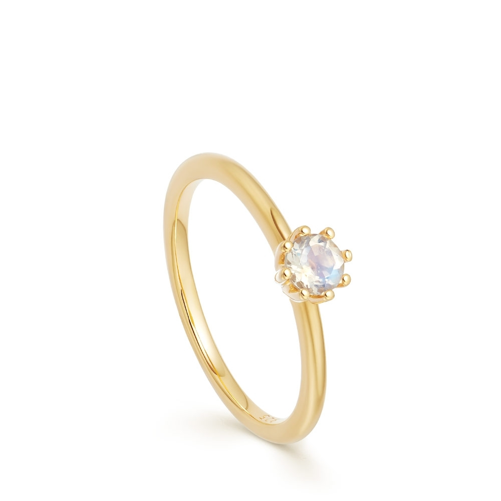 Mini Linia Rainbow Moonstone Ring