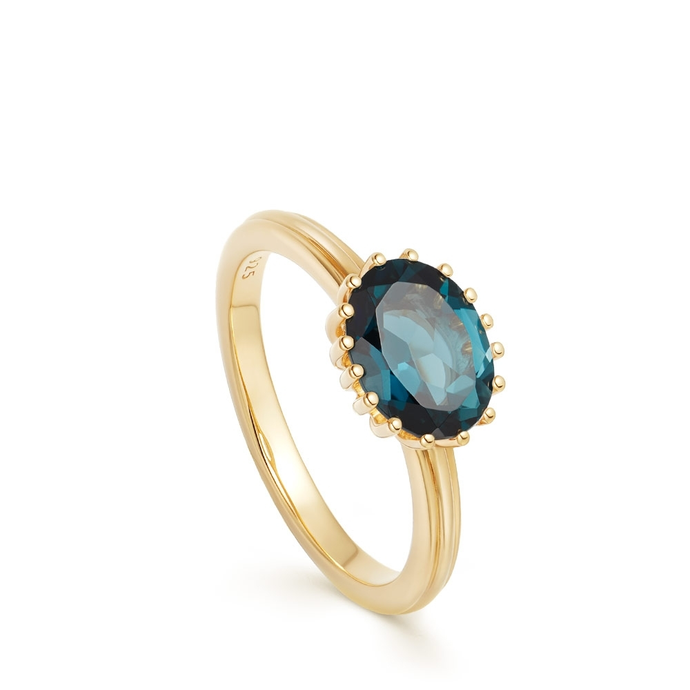 Large Linia London Blue Topaz Ring
