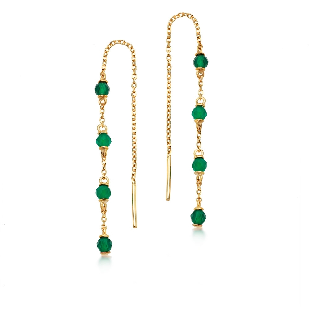 Stilla Green Onyx Chain Earrings
