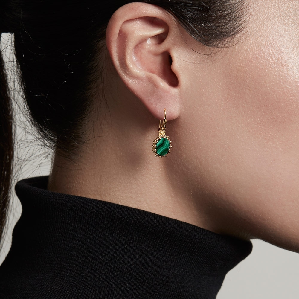 Malachite Floris Drop Earrings