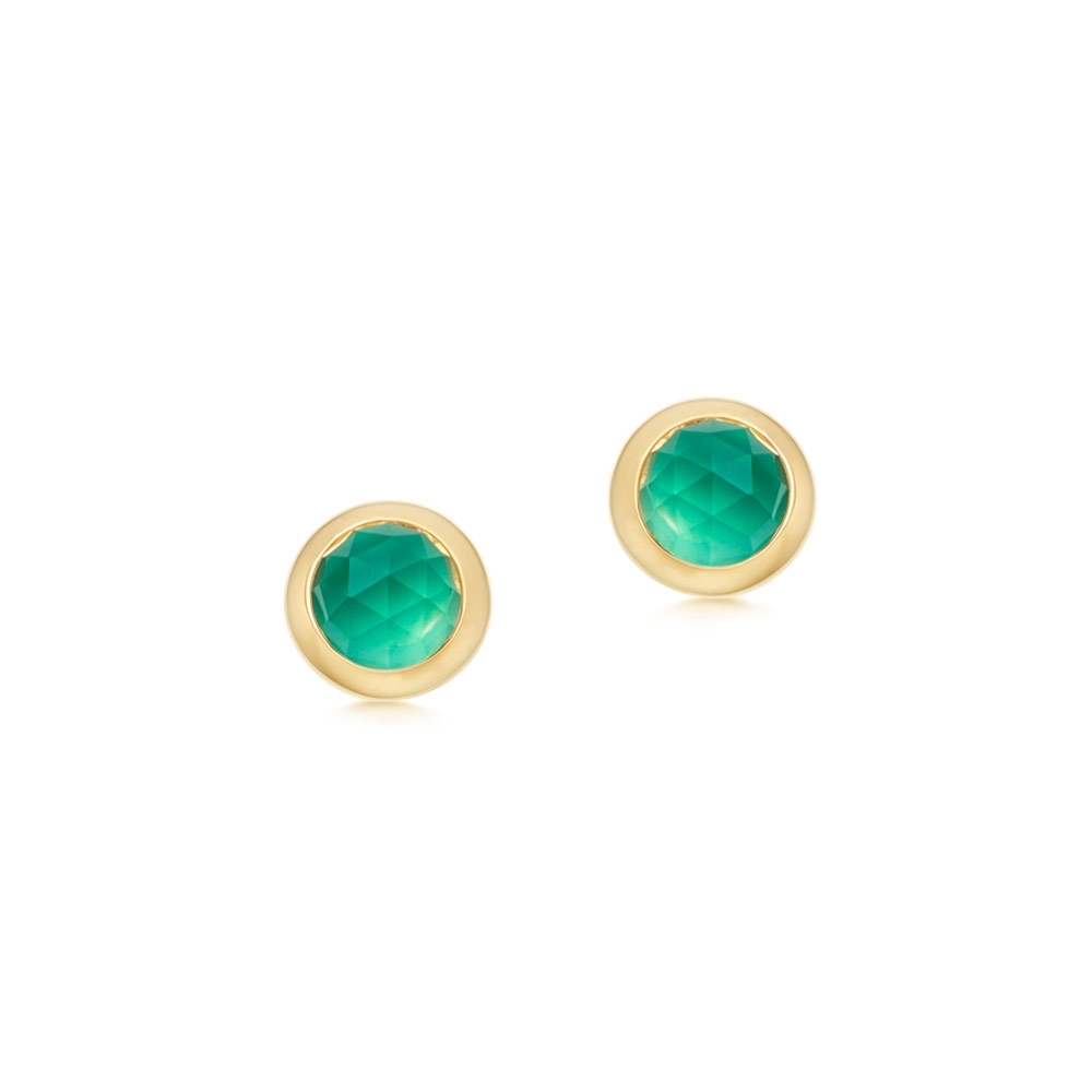Mini Stilla Green Onyx Stud Earrings