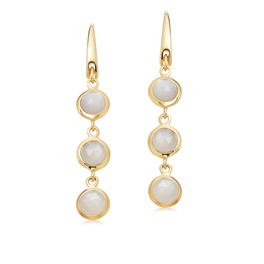 Stilla Triple Moonstone Drop Earrings