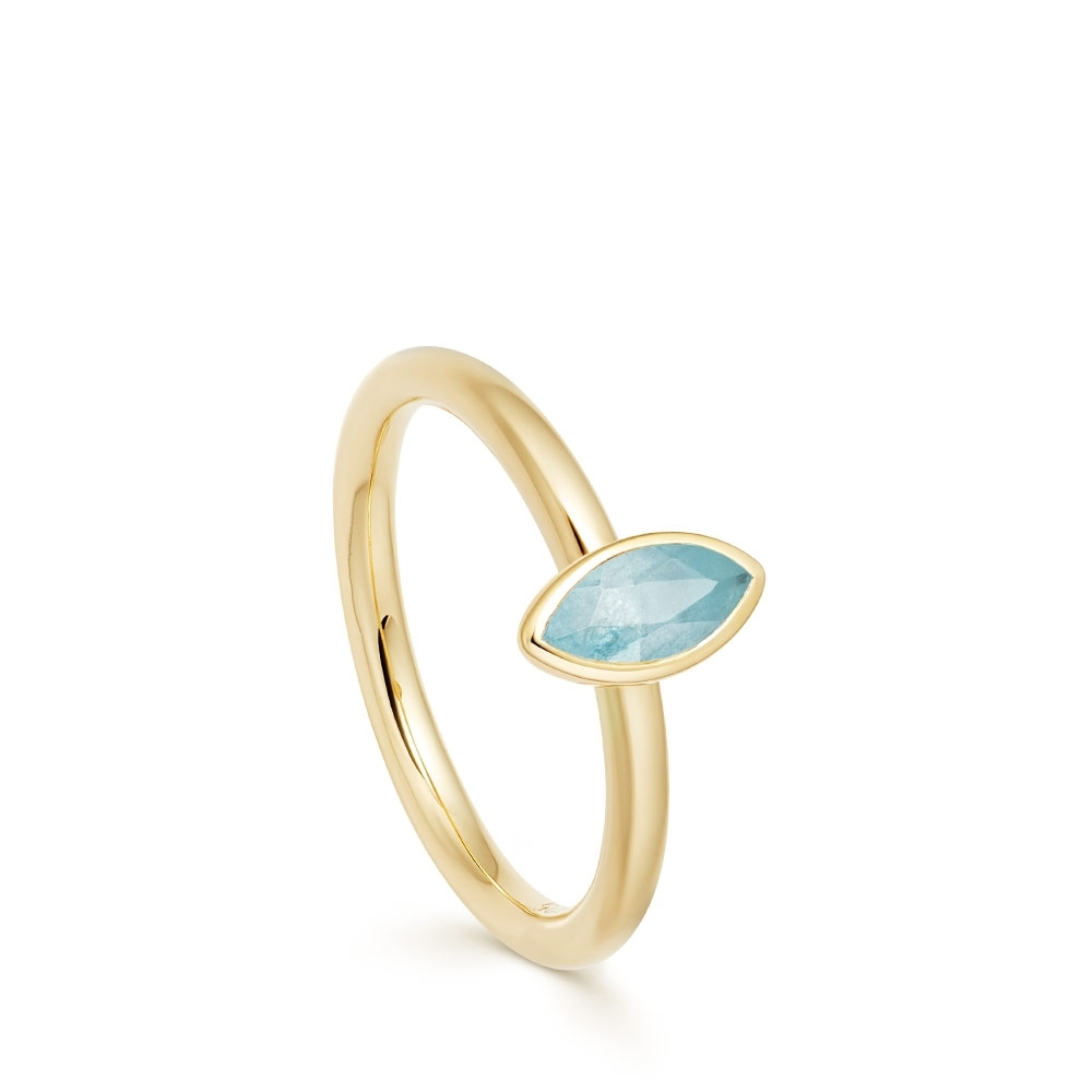Paloma Petal Milky Aqua Quartz Gold Ring