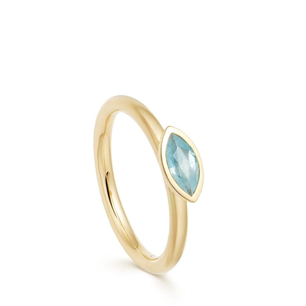 Paloma Fallen Petal Milky Aqua Quartz Gold Ring