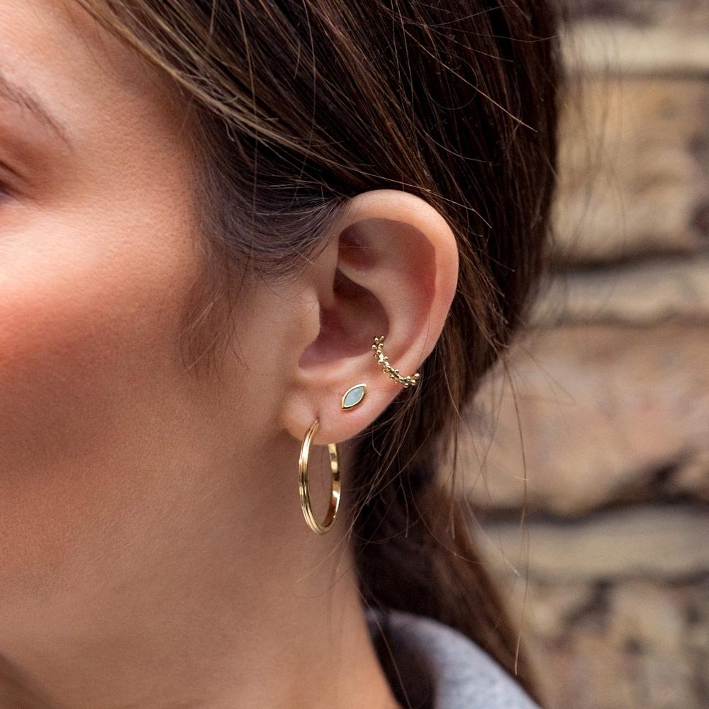Paloma Petal Milky Aquamarine Stud Earrings