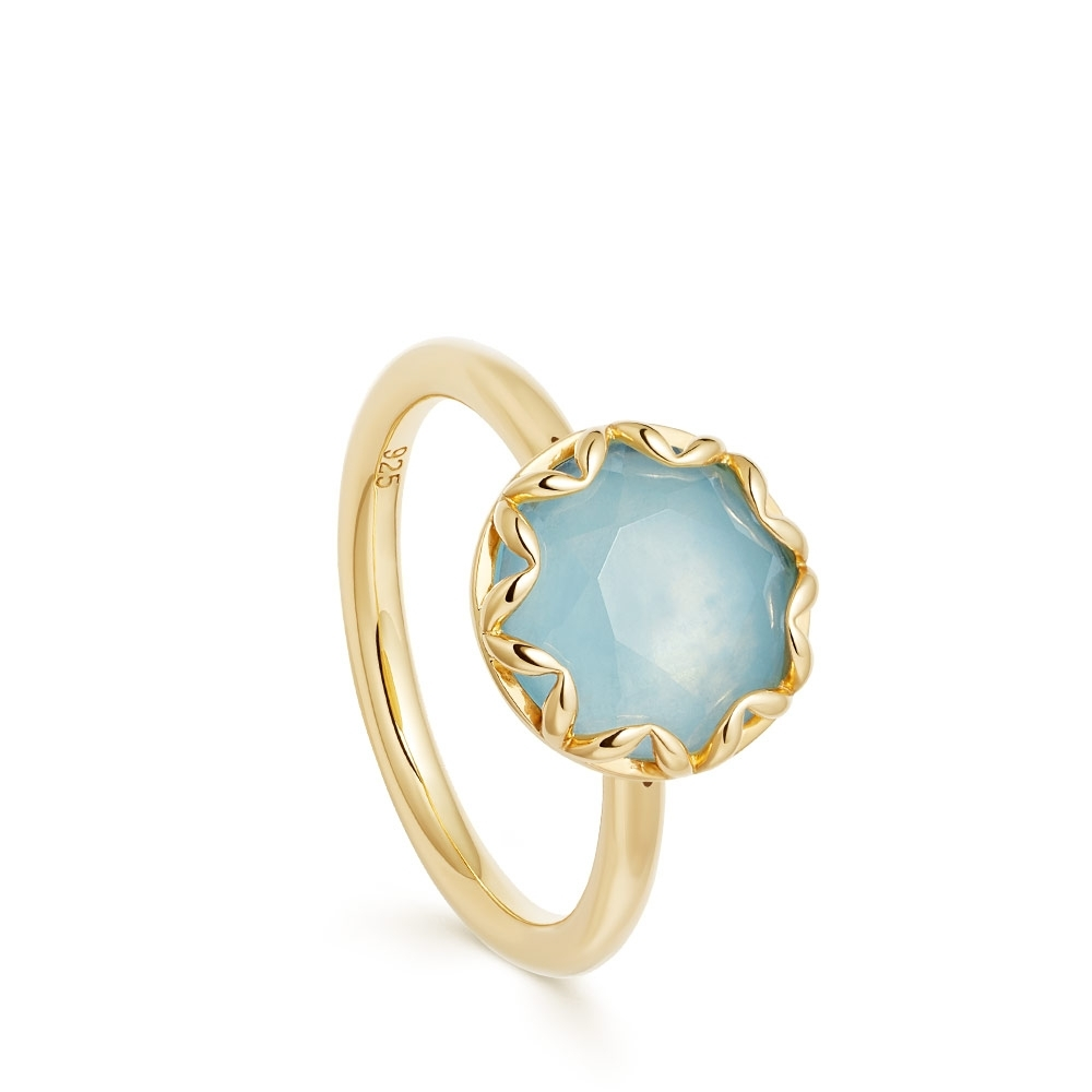 Paloma Milky Aqua Quartz Gold Ring