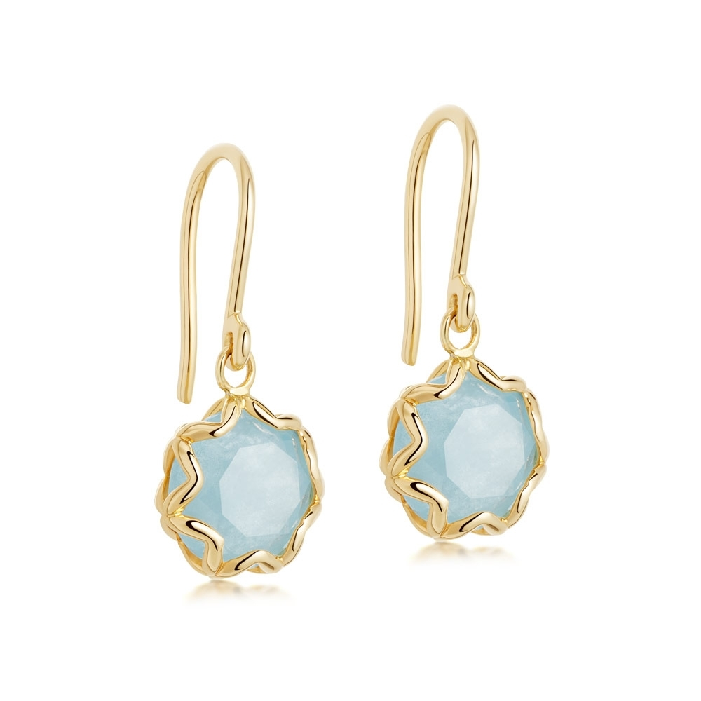 Paloma Milky Aqua Quartz Gold Drop Earrings
