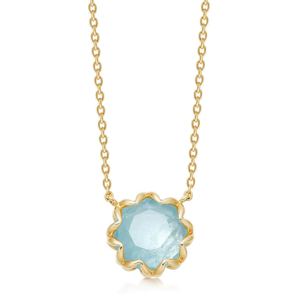 Paloma Milky Aqua Quartz Gold Pendant Necklace
